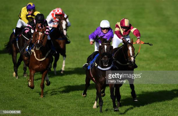 Scorpion Star ridden by Alexander Thorne just edge out Third Estate ridden by Bryony Frost during the Sky Sports Racing Launching in 2019 Conditional...