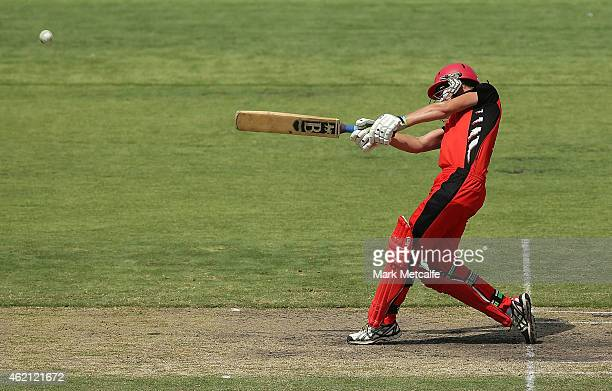 Scorpions captain Lauren Ebsary bats during the WNCL Final match between South Australia and New South Wales at Blacktown International Sportspark on...
