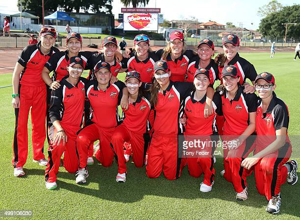 Scorpions celebrate as winners after the WNCL Final match between the New South Wales and South Australia at Hurstville Oval on November 29 2015 in...