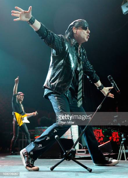 Scorpions singer Klaus Meine and guitarist Matthias Jabs perform during the band's Get Your Sting and Blackout farewell tour in support of the latest...