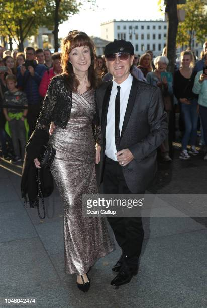 'Scorpions' singer Klaus Meine and his wife Gabriele Meine arrive for the wedding celebration of former German Chancellor Gerhard Schroeder and his...