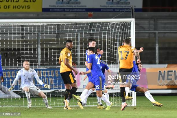 Scot Bennet t of Newport County scores to put his team 10 ahead during the Leasingcom quarter final match between Newport County and Leicester City...