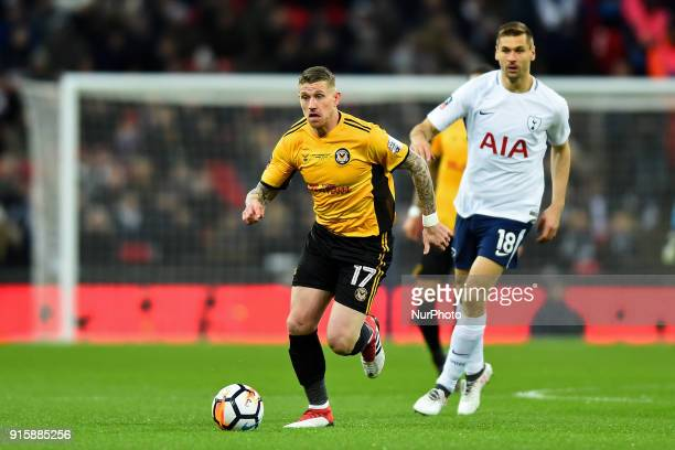 Scot Bennett of Newport County in action during the FA Cup Fourth Round replay match between Tottenham Hotspur and Newport County at Wembley stadium...