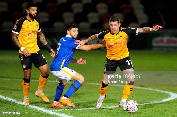 Scot Bennett of Newport County in action during the FA Cup Third Round match between Newport County and Brighton And Hove Albion at Rodney Parade on...