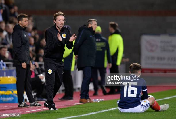 Scot Gemmill Manager of Scotland U21 gives instructions to Billy Gilmour of Scotland U21 during the 2019 UEFA European Under21 Championship Qualifier...