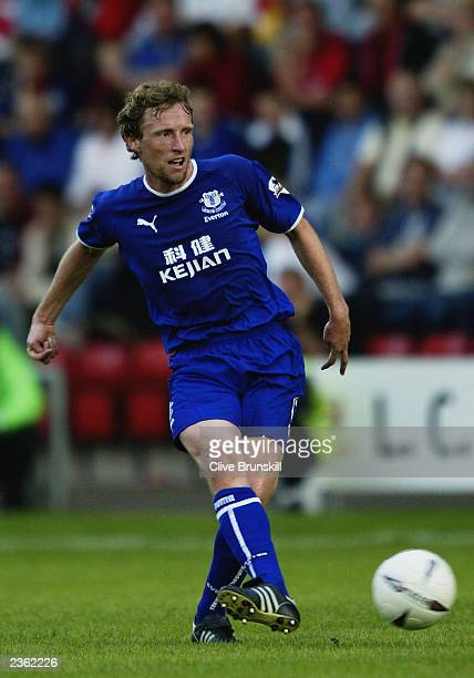 Scot Gemmill of Everton passes the ball during the PreSeason Friendly match between Crewe Alexandra and Everton held on July 22 2003 at Gresty Road...