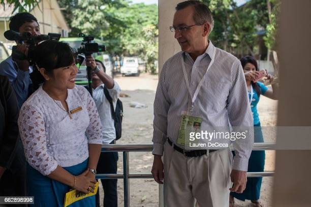 Scot Marciel Ambassador of the United States of America to Myanmar visits the polling station for disabled voters at Kyi Myin Daing School for the...
