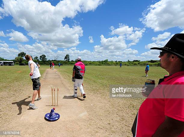 Scot Mayer from the team 'All Out For 47' bowls during the 2012 Goldfield Ashes cricket competition on January 22 2012 in Charters Towers Australia...