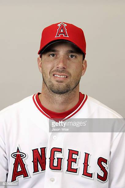 Scot Shields of the Los Angeles Angels of Anaheim poses for a portrait during photo day at Tempe Diablo Stadium on February 24 2005 in Tempe Arizona
