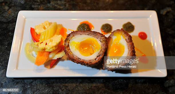 Scotch Egg dish at Birch restaurant in Kittery for Dine Out Maine