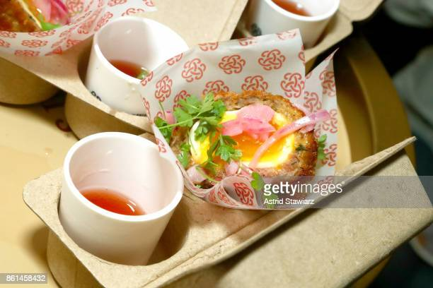 Scotch Egg's dish served during Street Eats hosted by Ghetto Gastro at Industria on October 14 2017 in New York City