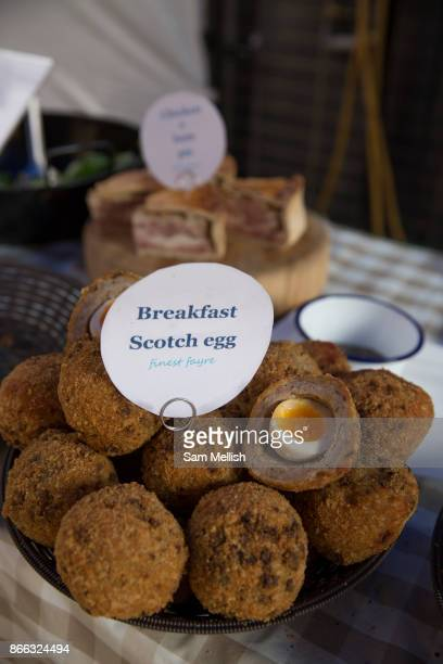Scotch Eggs on sale at Maltby Street Market on 17th October 2015 in London United Kingdom Opening in 2010 Maltby Street is an artisan food market...