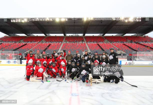 Scotiabank Skaters pose for a photo to celebrate the sponsorship of 1 million minor hockey league kids in advance of the 2017 Scotiabank NHL100...