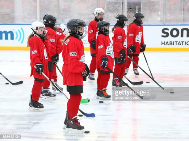 Scotiabank skaters warmup to celebrate the sponsorship of 1 million minor hockey league kids in advance of the 2017 Scotiabank NHL100 Classic at...