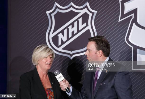 Scotiabank SVP Carole Chapdelaine speaks with media personality Elliotte Friedman during the 2017 Scotiabank NHL 100 Classic announcement at the...