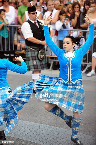 Scotish dancers of the Keltika Highland Dancers perform Gaelic dance on August 2 2009 in Lorient western France during the celtics nations Great...