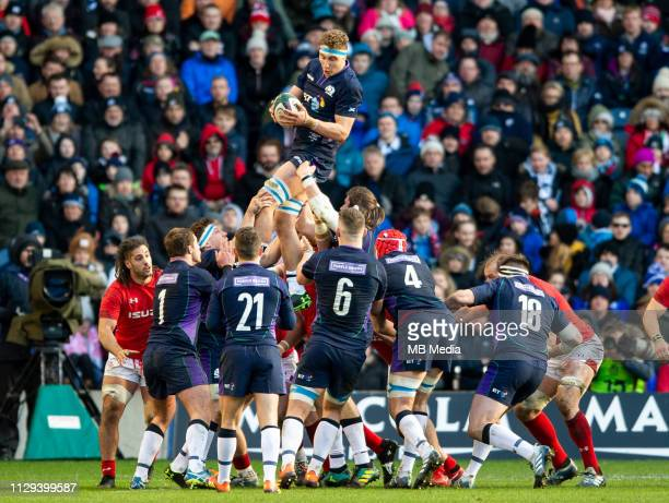 Scotland Back Row, Jamie Ritchie, wins the lineout for the Scots as Scotland play host to Wales in their 6 Nations clash at Murrayfield Stadium on...