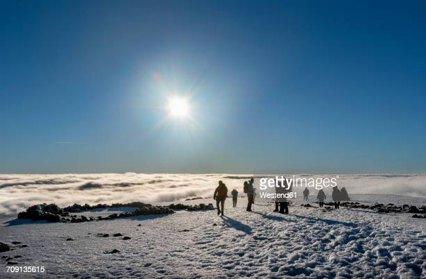 UK, Scotland, Ben Nevis, mountaineers on summit