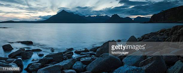 Scotland blue sunset over Cuillin mountains Skye panorama