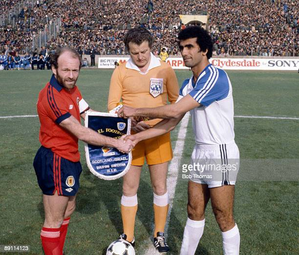Scotland captain Archie Gemmill meets Israel's Gideon Damti prior to the World Cup Qualifying match in Tel Aviv 25th February 1981 Scotland won 10
