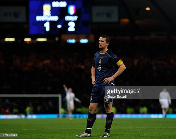 Scotland captain Barry Ferguson looks dejected after his team conceded a second goal during the UEFA Euro 2008 Group B Qualifying match between...