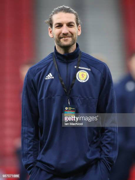 Scotland captain Charlie Mulgrew is seen prior to the Vauxhall International Challenge match between Scotland and Costa Rica at Hampden Park on March...