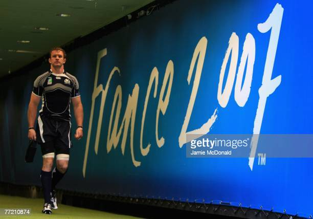 Scotland captain Jason White emerges from the tunnel during the Scotland Captain's Run prior to tomorrows IRB Rugby World Cup Quarter Final match...