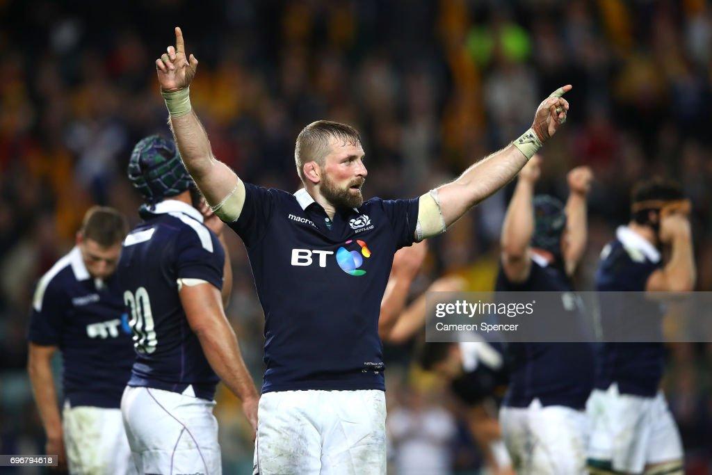 Scotland captain John Barclay celebrates winning the International Test match between the Australian Wallabies and Scotland at Allianz Stadium on June 17, 2017 in Sydney, Australia.