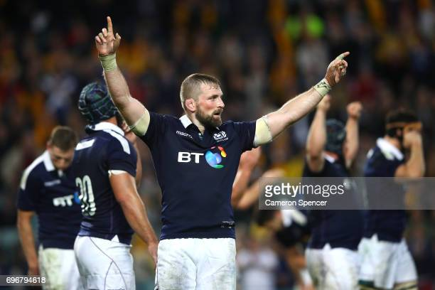 Scotland captain John Barclay celebrates winning the International Test match between the Australian Wallabies and Scotland at Allianz Stadium on...