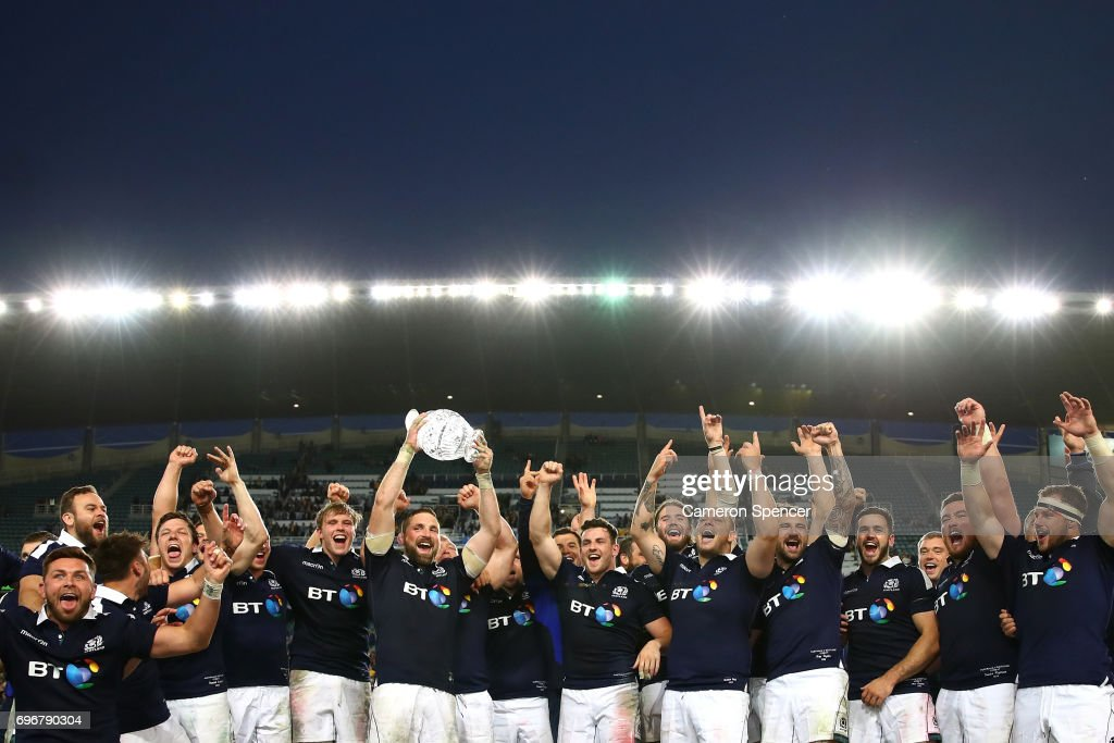 Scotland captain John Barclay celebrates with team mates after winning the Hopetoun Cup during the International Test match between the Australian Wallabies and Scotland at Allianz Stadium on June 17, 2017 in Sydney, Australia.