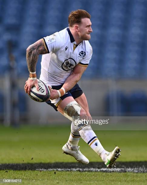 Scotland captain Stuart Hogg in action during the Guinness Six Nations match between Scotland and Italy at Murrayfield on March 20, 2021 in...