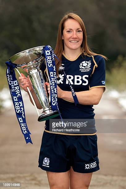 Scotland captain Susie Brown poses with the Women's Six Nations trophy during the RBS Six Nations launch at The Hurlingham Club on January 23 2013 in...