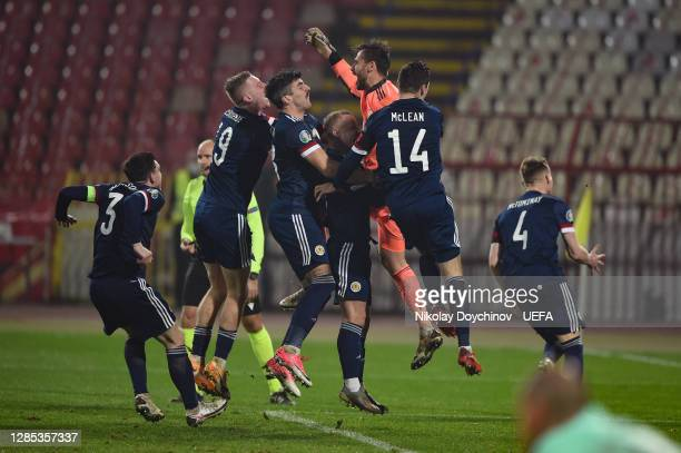 Scotland celebrate after their teams victory during the UEFA EURO 2020 Play-Off Final between Serbia and Scotland at Rajko Mitic Stadium on November...