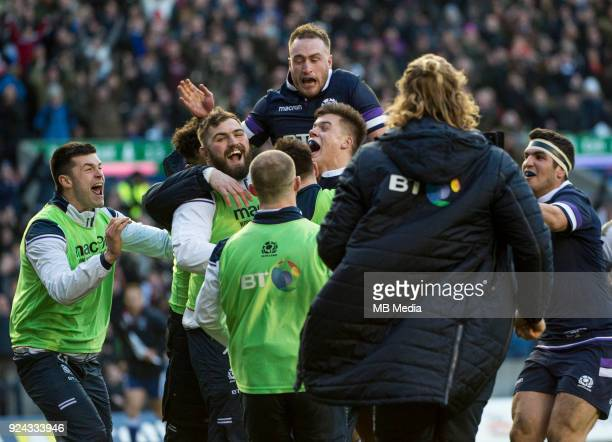 Scotland celebrate Huw Jones try during the first half of the 6 Nations clash between Scotland and England at BT Murrayfield on February 24 2018 in...
