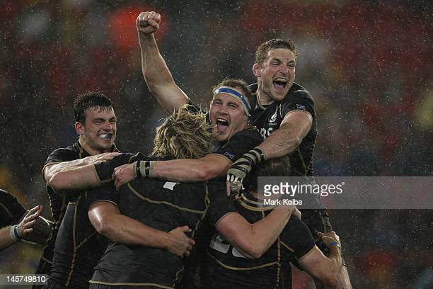 Scotland celebrate their victory during the International Test match between the Australian Wallabies and Scotland at Hunter Stadium on June 5, 2012...