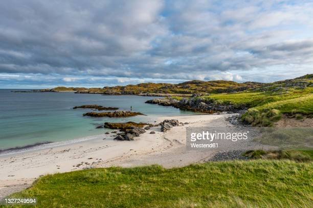 uk, scotland, clouds over bosta beach - western isles stock pictures, royalty-free photos & images