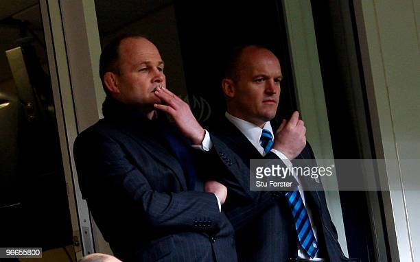 Scotland coach Andy Robinson and assistant Gregor Townsend look on during the RBS 6 Nations Championship match between Wales and Scotland at the...