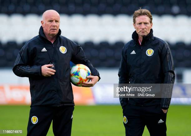 Scotland coach Peter Houston and manager Scot Gemmill are pictured before the UEFA Under 21's Championship Qualifier between Scotland and San Marino...