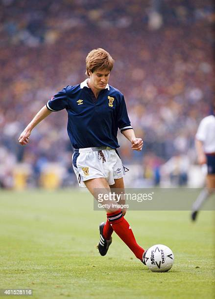 Scotland defender Richard Gough in action during the Rous Cup International match between England and Scotland at Wembley Stadium on May 21 1988 in...