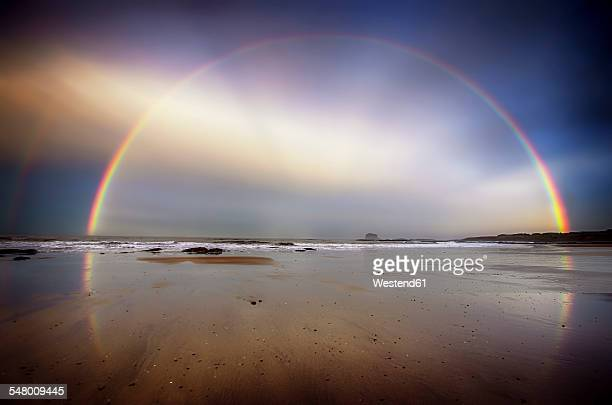 uk, scotland, east lothian, north berwick beach, rainbow - rainbow stock pictures, royalty-free photos & images