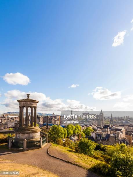 UK, Scotland, Edinburgh, Calton Hill, Dugald Stewart Monument, cityscape