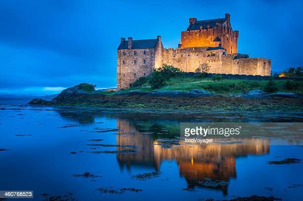 Scotland Eilean Donan Castle reflecting in Loch Duich Highlands UK