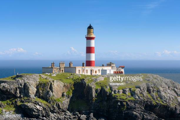 uk, scotland, eilean glas lighthouse on scalpay island - british culture stock pictures, royalty-free photos & images