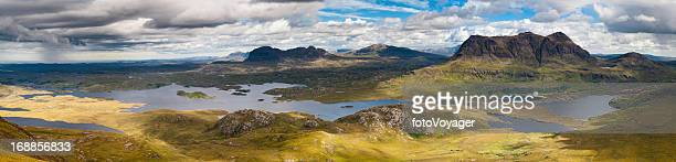 scotland epic highland landscape mountain panorama - wester ross stock pictures, royalty-free photos & images