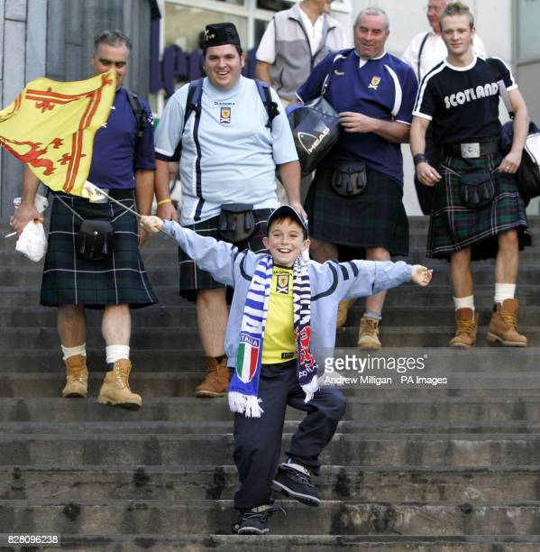 Scotland fan Connor Watson from Dundee arrives with his family in Oslo Norway Tuesday September 6 2005 ahead of Scotland's match against Norway in a...