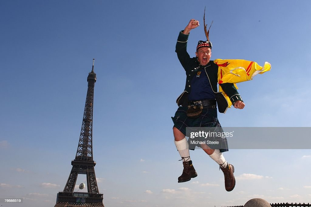 Scotland fan David Harrison from Loch Lomond enjoys Paris before the Euro 2008 Group B qualifying match between France and Scotland at the Parc de Princes on September 12, 2007 in Paris, France.