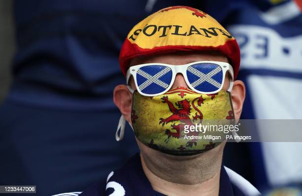 Scotland fan in the stands ahead of the UEFA Euro 2020 Group D match at Hampden Park, Glasgow. Picture date: Monday June 14, 2021.
