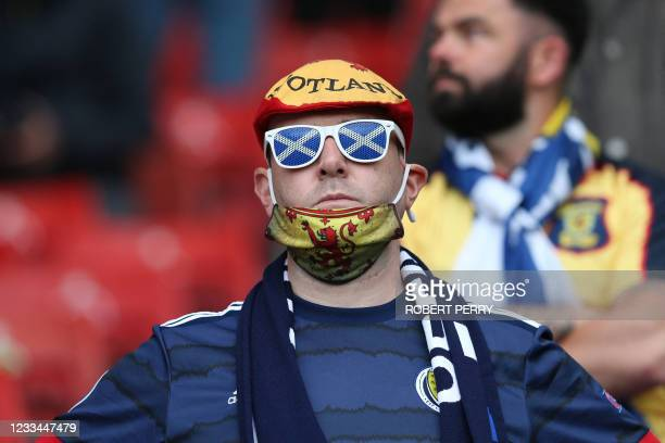 Scotland fan looks on ahead of the UEFA EURO 2020 Group D football match between Scotland and Czech Republic at Hampden Park in Glasgow on June 14,...