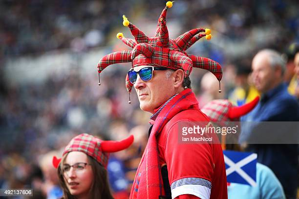 Scotland fan looks on during the 2015 Rugby World Cup Pool B match between Samoa and Scotland at St James Park on October 10 2015 in Newcastle England