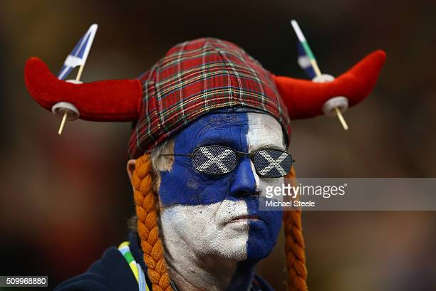 Scotland fan looks on during the RBS Six Nations match between Wales and Scotland at the Principality Stadium on February 13 2016 in Cardiff Wales